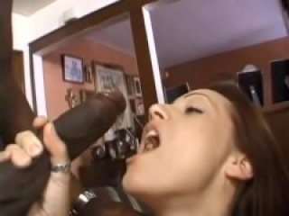 White slut fucked and facialized by two BBC