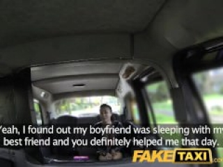 Taxi driver scores with hot ebony babe