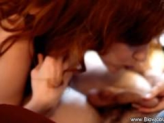 Experienced redhead gives amazing blowjob