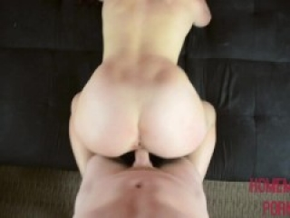 Teen with massive tits rides cock before having them covered in cum