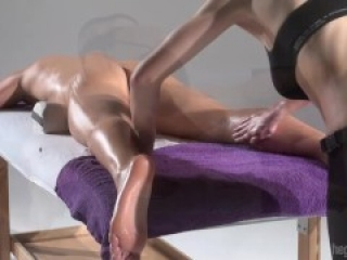 Intense handjob by massage therapist