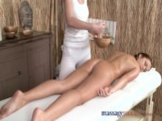 Sensual lesbian massage room love making